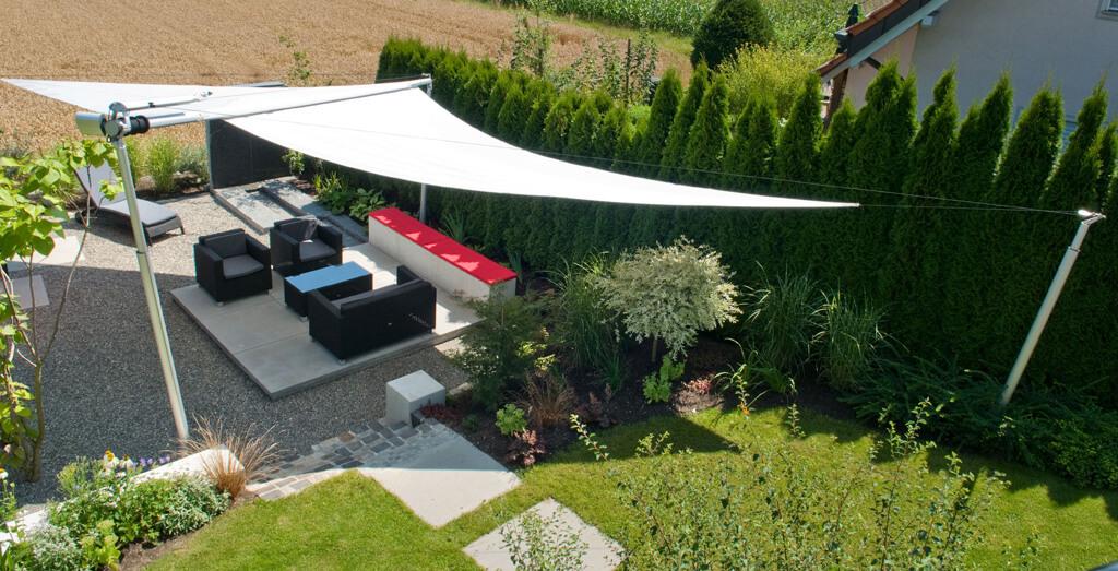 sonnensegel ein wohnbereich auf terrasse und garten. Black Bedroom Furniture Sets. Home Design Ideas